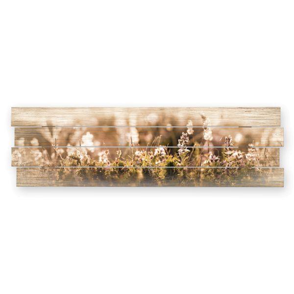 Blumenwiese | Shabby chic Holzbild | ca.100x30cm