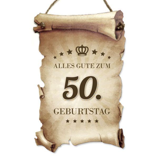 Deko-Schild aus Holz in Schriftrollen-Optik mit Spruch   Geburtstag   ideales Geschenk