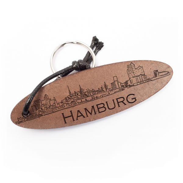 Schlüsselanhänger oval aus Echtleder mit Gravur im Used Look   Hamburg