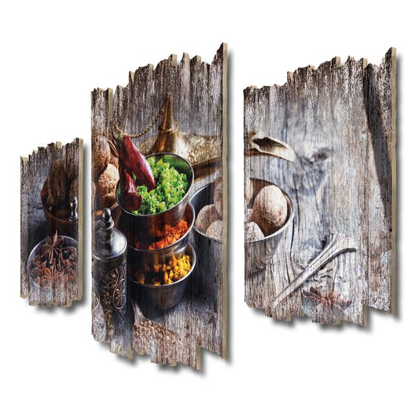 Exotische Gewürze Shabby chic 3-Teiler Wandbild aus Massiv-Holz