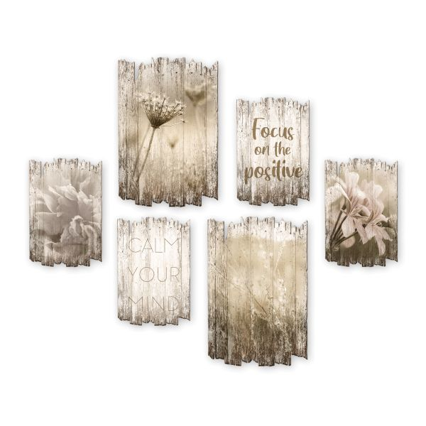 Blüten | Shabby chic | 6-teiliges Wandbilder-Set aus Holz