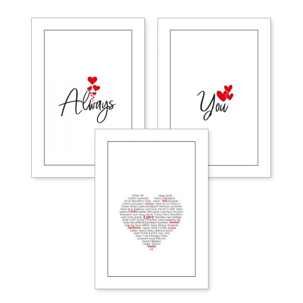3-teiliges Poster-Set | Always You | optional mit Rahmen | DIN A4 oder A3