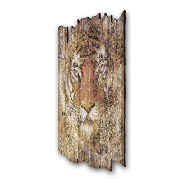 Tiger Schlüsselbrett mit 6 Haken im Shabby Style aus Holz