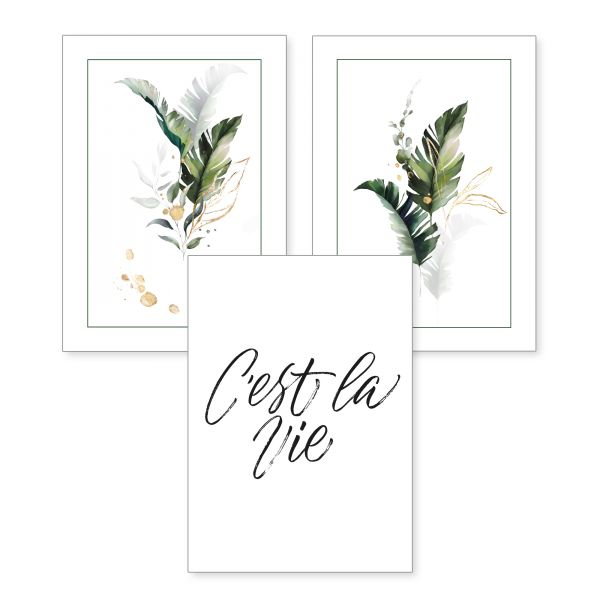3-teiliges Poster-Set   C'est la vie   optional mit Rahmen   DIN A4 oder A3