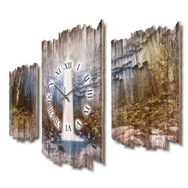 Svartifoss Wasserfall Island Shabby chic Dreiteilige Wanduhr aus MDF mit leisem Funk- oder Quarzuhrw