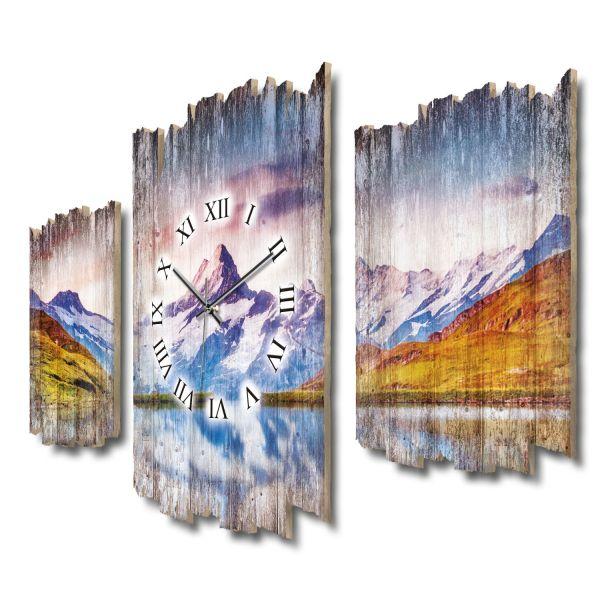 Schreckhorn Schweiz Shabby chic Dreiteilige Wanduhr aus MDF mit leisem Funk- oder Quarzuhrwerk