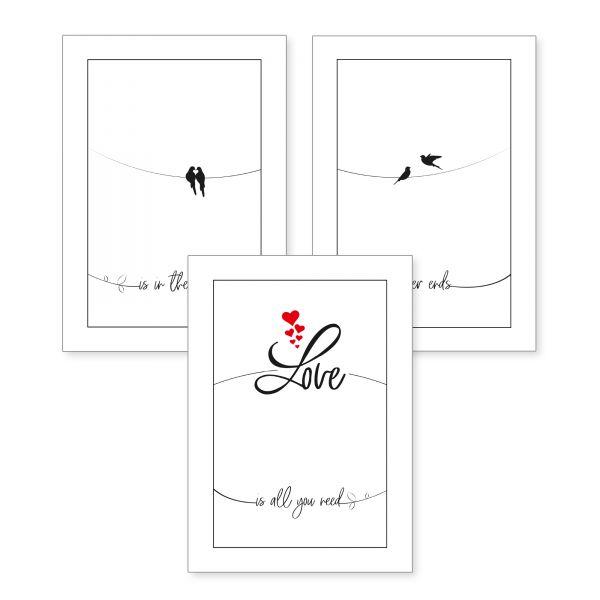 3-teiliges Poster-Set | Love | optional mit Rahmen | DIN A4 oder A3