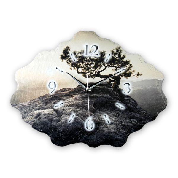 Baum Designer Funk-Wanduhr aus echtem Naturschiefer mit leisem Funk- oder Quarzuhrwerk
