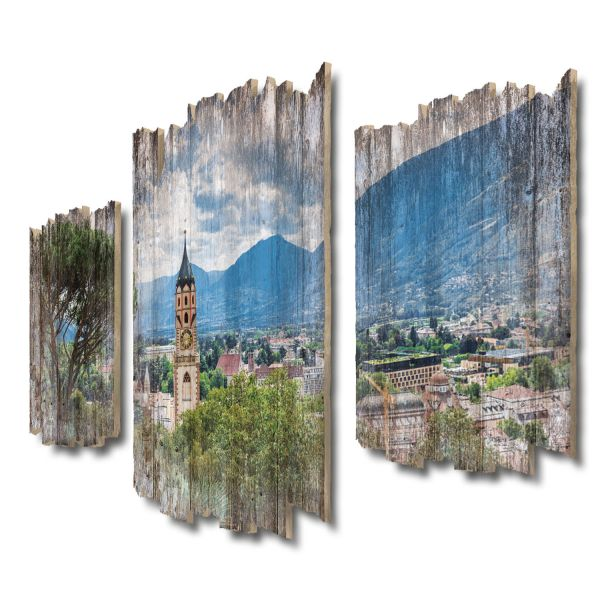 Meran Stadtpanorama Shabby chic 3-Teiler Wandbild aus Massiv-Holz