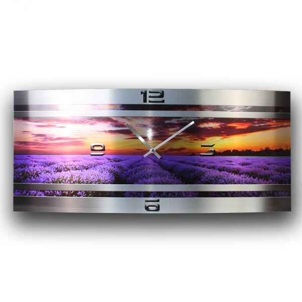 Wanduhr Lavendel Metallic aus gebürstetem Aluminium mit leisem Funkuhrwerk