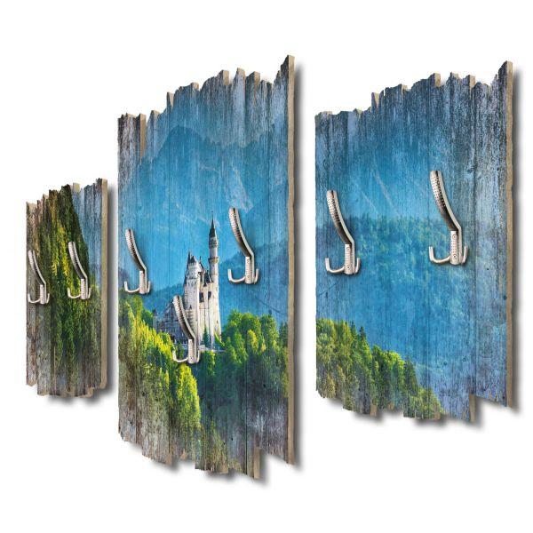 Schloss Neuschwanstein Shabby chic 3-Teiler Garderobe aus MDF
