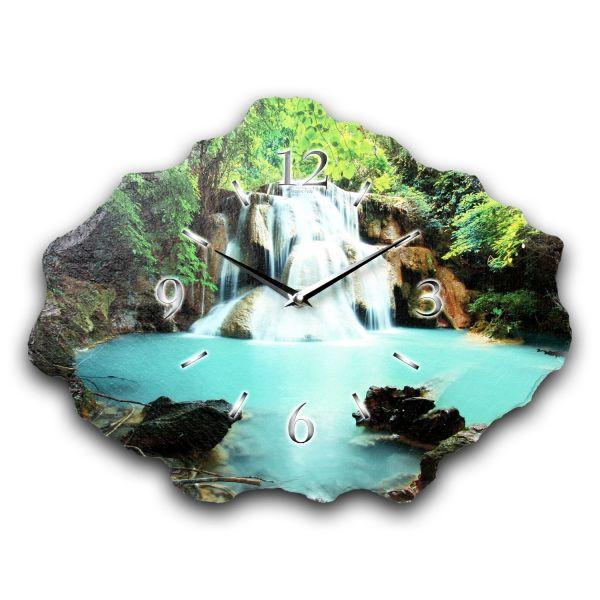 Wasserfall Designer Funk-Wanduhr aus echtem Naturschiefer mit leisem Funkuhrwerk