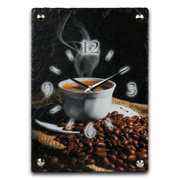 Kaffee Designer Funk-Wanduhr aus echtem Naturschiefer mit leisem Funk- oder Quarzuhrwerk