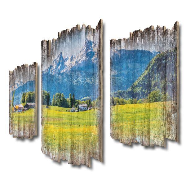 Alpen-Panorama Shabby chic 3-Teiler Wandbild aus Massiv-Holz