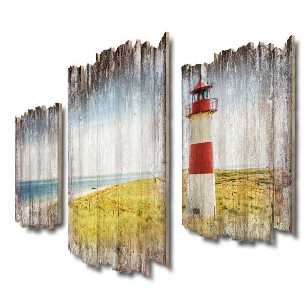 Strand-Panorama Leuchtturm Shabby chic 3-Teiler Wandbild aus Massiv-Holz