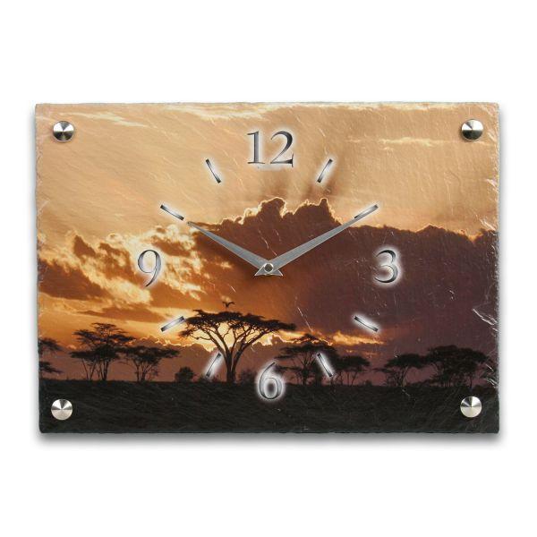 Sonnenaufgang Designer Funk-Wanduhr aus echtem Naturschiefer mit leisem Funk- oder Quarzuhrwerk