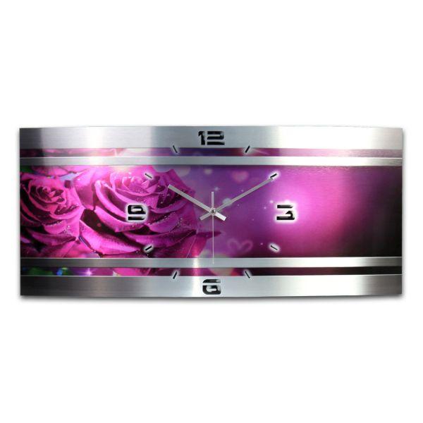 Wanduhr Rose Metallic aus gebürstetem Aluminium mit leisem Funkuhrwerk