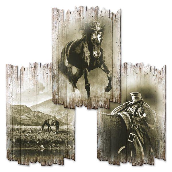 Pferde | Deko-Holzschilder im 3er Set | wahlw. in 30x20cm oder 30x45cm