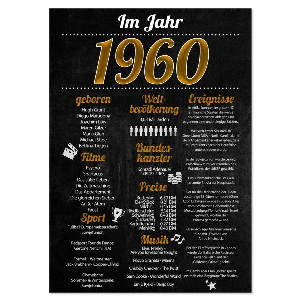 1960 Poster | für Geburtstag, Jubiläum oder Hochzeitstag | Party-Schild | A4 oder A3