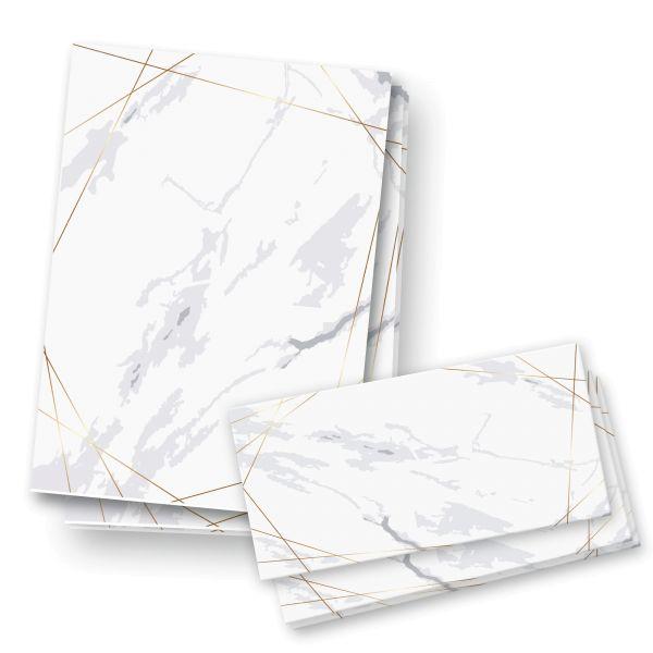 Briefpapier-Set   Marmor   25x DIN A4 Briefpapier mit passenden Umschlägen