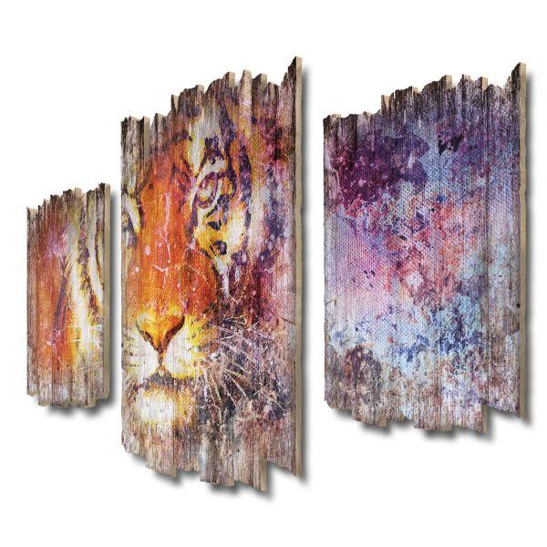 Tiger Shabby chic 3-Teiler Wandbild aus Massiv-Holz
