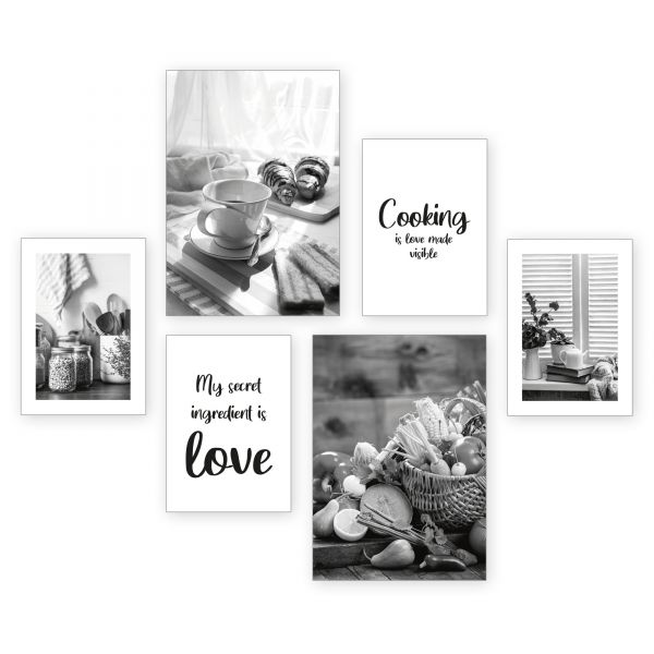 """Cooking"" 6-teiliges Poster-Set - optional mit Rahmen - 2 x DIN A3 & 4 x DIN A4"
