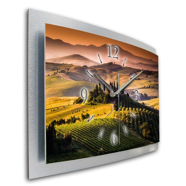 3D Wanduhr Toscana aus gebürstetem Aluminium mit leisem Funk- oder Quarzuhrwerk
