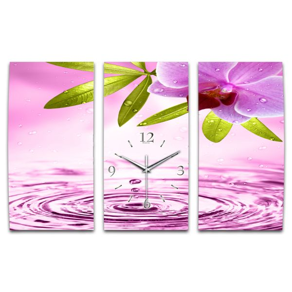 3 Teilige Wanduhr Orchidee pink XXL aus Aluminium mit leisem Funkuhrwerk