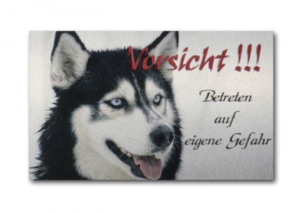 Hundewarnschild Husky aus gebürstetem Alu-Verbund