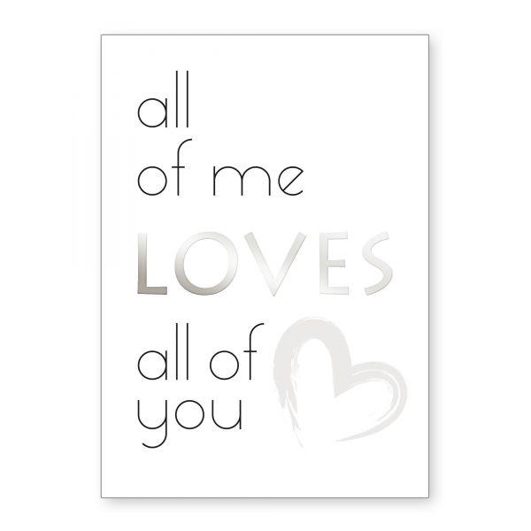 """""""All Of Me"""" mit Chrom-Effekt veredeltes Poster - optional mit Rahmen - DIN A4"""