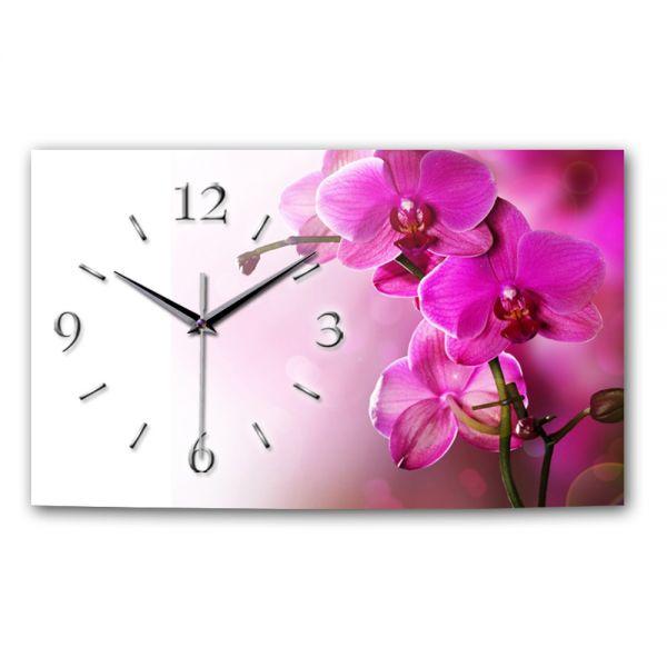 Wanduhr Orchidee pink aus Alu-Verbund mit leisem Funkuhrwerk