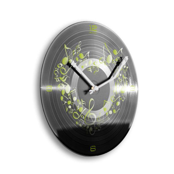 """Schallplattenuhr """"Music from Heart"""" wahlw. mit leisem Funk- oder Quarzuhrwerk"""