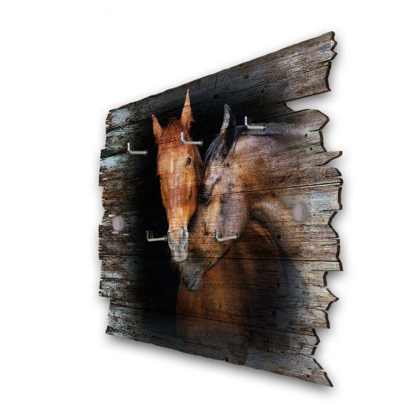 Pferdepaar Schlüsselbrett mit 5 Haken im Shabby Style aus Holz