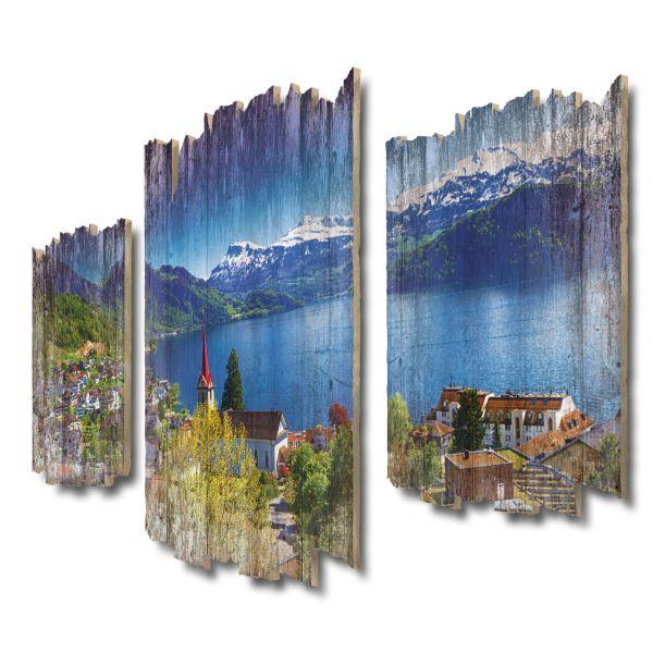 Vierwaldstättersee Schweiz Shabby chic 3-Teiler Wandbild aus Massiv-Holz