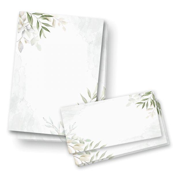 Briefpapier-Set | Botanik | 25x DIN A4 Briefpapier mit passenden Umschlägen