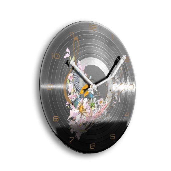 """Schallplattenuhr """"Musical Bird"""" wahlw. mit leisem Funk- oder Quarzuhrwerk"""