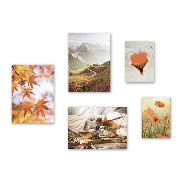 """Herbst"" 5-teiliges Poster-Set - optional mit Rahmen - 3x DIN A3 & 2x DIN A4"