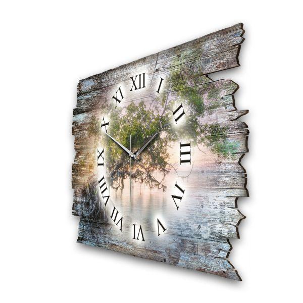 """Designer Funk-Wanduhr """"Baum im Lichtzauber"""" aus Naturholz mit leisem Funk- oder Quarzuhrwerk"""