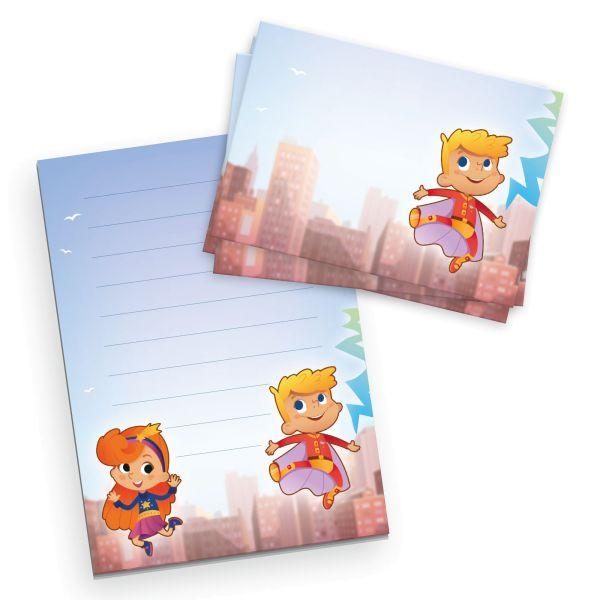 Briefpapier-Set für Kinder | Superhelden | DIN A5 Briefpapier-Block 50 Blatt mit 20 Umschlägen