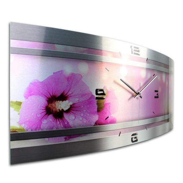 Wanduhr Pink Flower Metallic aus gebürstetem Aluminium mit leisem Funkuhrwerk
