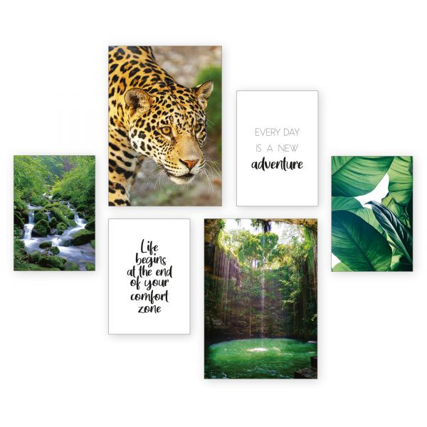 """""""Jaguar"""" 6-teiliges Poster-Set - optional mit Rahmen - 2 x DIN A3 & 4 x DIN A4"""