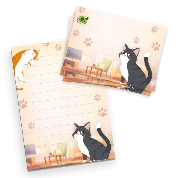Briefpapier-Set für Kinder   Katzen   DIN A5 Briefpapier-Block 50 Blatt mit 20 Umschlägen