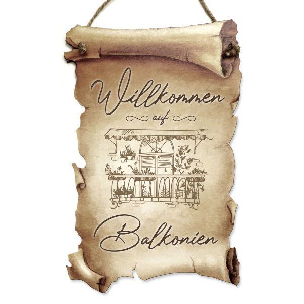 Deko-Schild aus Holz in Schriftrollen-Optik mit Spruch | Balkonien | ideales Geschenk