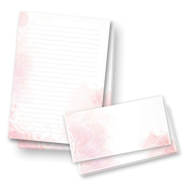 Briefpapier-Set | Zart Rosa | 25x DIN A4 Briefpapier liniert mit passenden Umschlägen