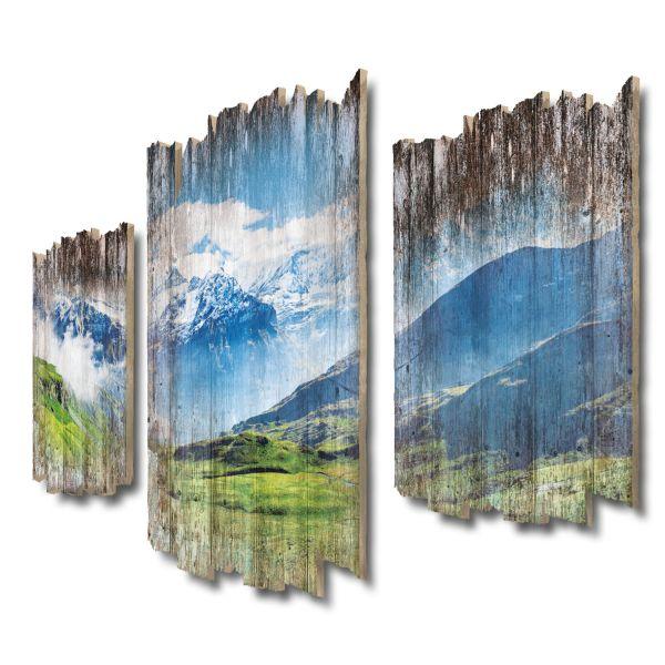 Schweizer Alpen Panorama Shabby chic 3-Teiler Wandbild aus Massiv-Holz