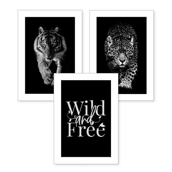 3-teiliges Poster-Set | Wild | optional mit Rahmen | DIN A4 oder A3