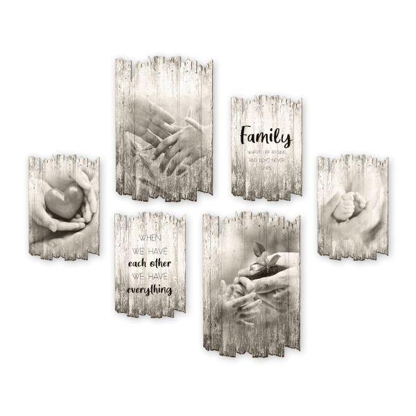 Family | Shabby chic | 6-teiliges Wandbilder-Set aus Holz