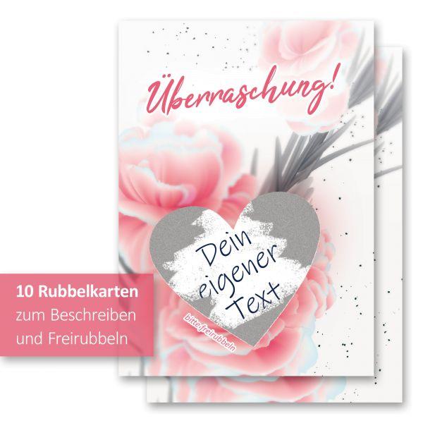 """""""Rose Pink"""" Rubbelkarten im 10er Set mit Umschlägen und Rubbelstickern"""