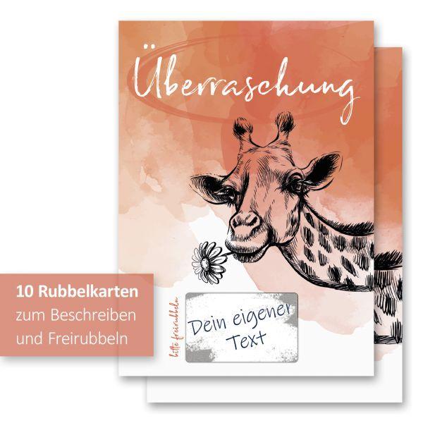 """""""Giraffe"""" Rubbelkarten im 10er Set mit Umschlägen und Rubbelstickern"""