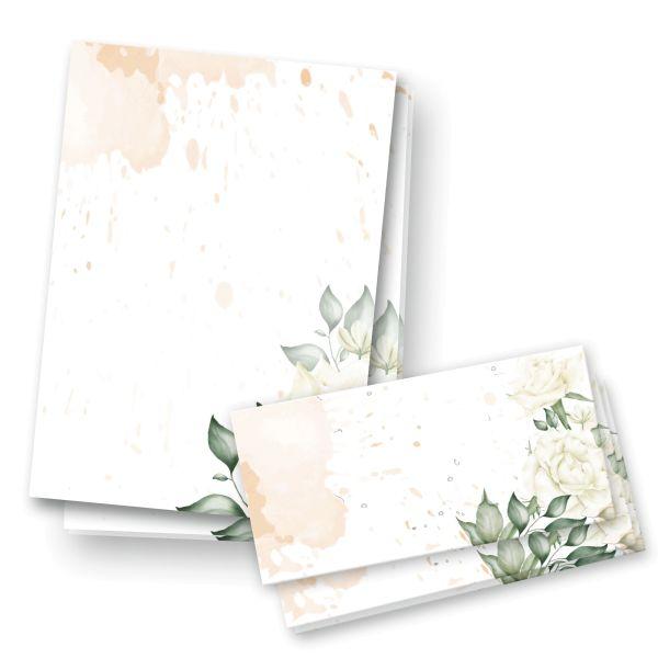 Briefpapier-Set | Rose Weiß | 25x DIN A4 Briefpapier mit passenden Umschlägen